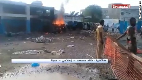 Saudi airstrikes have damaged hospitals, including this one in northern Yemen seen on Al Masirah TV.