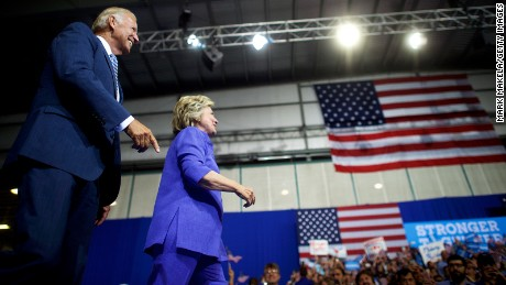 Hillary Clinton holds a rally with US Vice President Joe Biden at Riverfront Sports athletic facility on August 15, 2016 in Scranton, Pennsylvania.