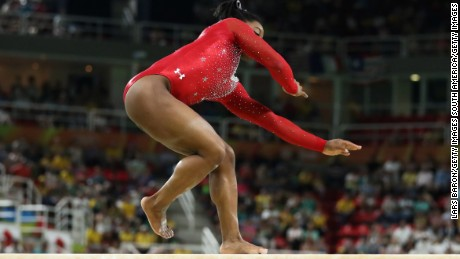 Biles slips while competing in the Balance Beam Final on day 10 of the Rio 2016 Olympic Games.