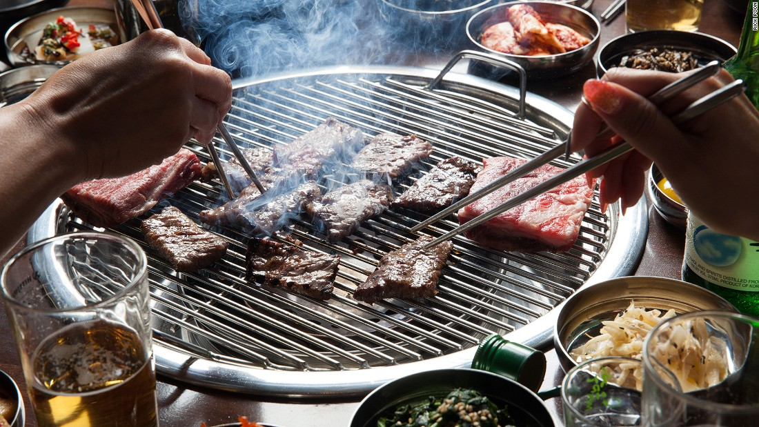 Korean BBQ gogigu usually features a grill placed in the center of a table, surrounded with an assortment of banchan (side dishes). Photo Rick Poon/Hanjip/Culver City, CA
