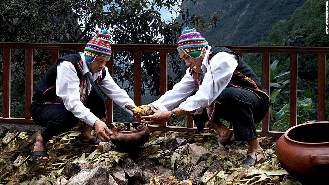 Pachamanca (meaning earth pot in Quechua) is one of Peru's most traditional Incan cooking customs. A hole is dug in the ground and lined with fire-heated stones to cook the food.