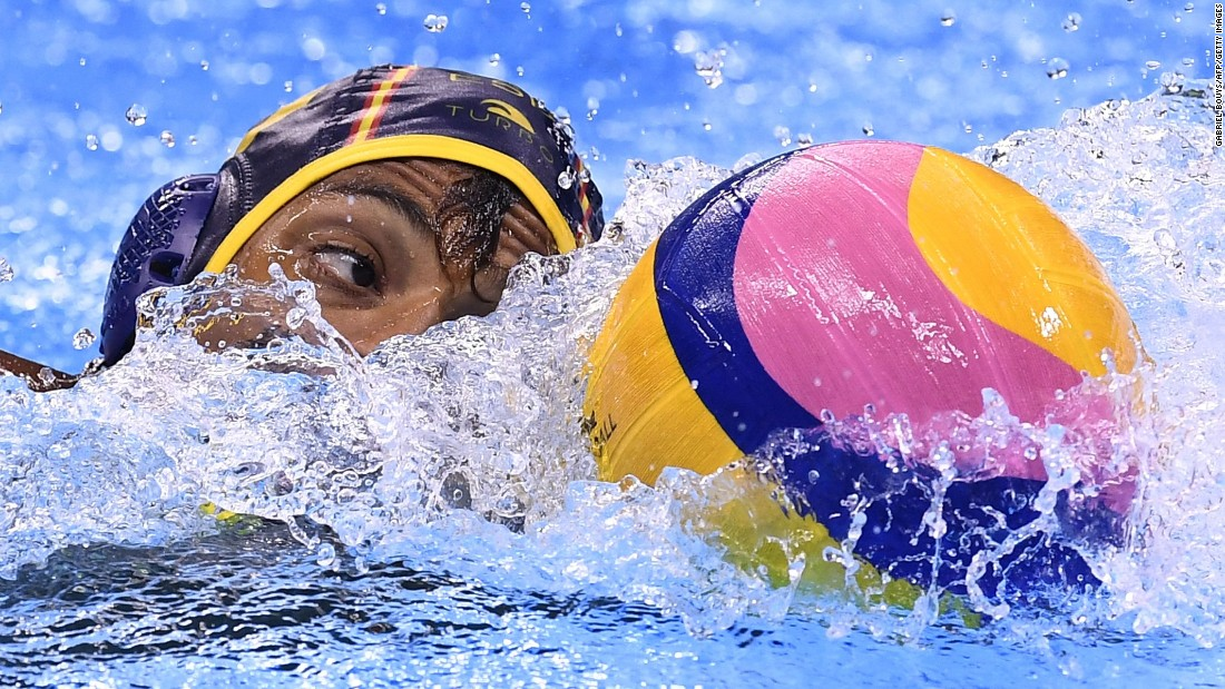 Spain's Francisco Fernandez competes in a water polo quarterfinal match against Serbia.