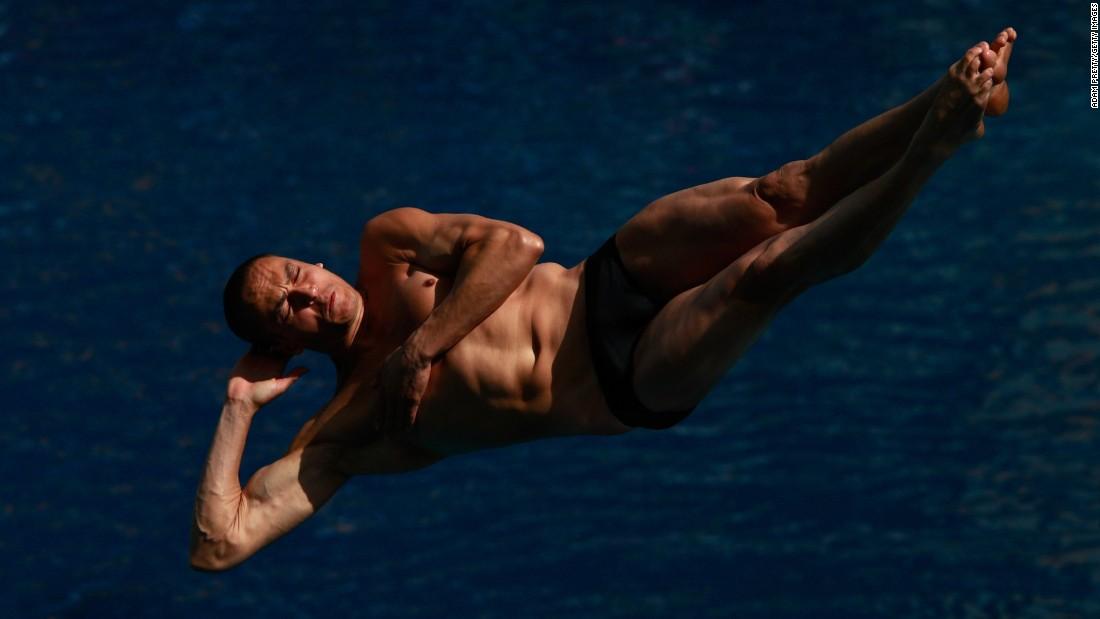 Brazilian diver Cesar Castro competes in the 3-meter springboard event.