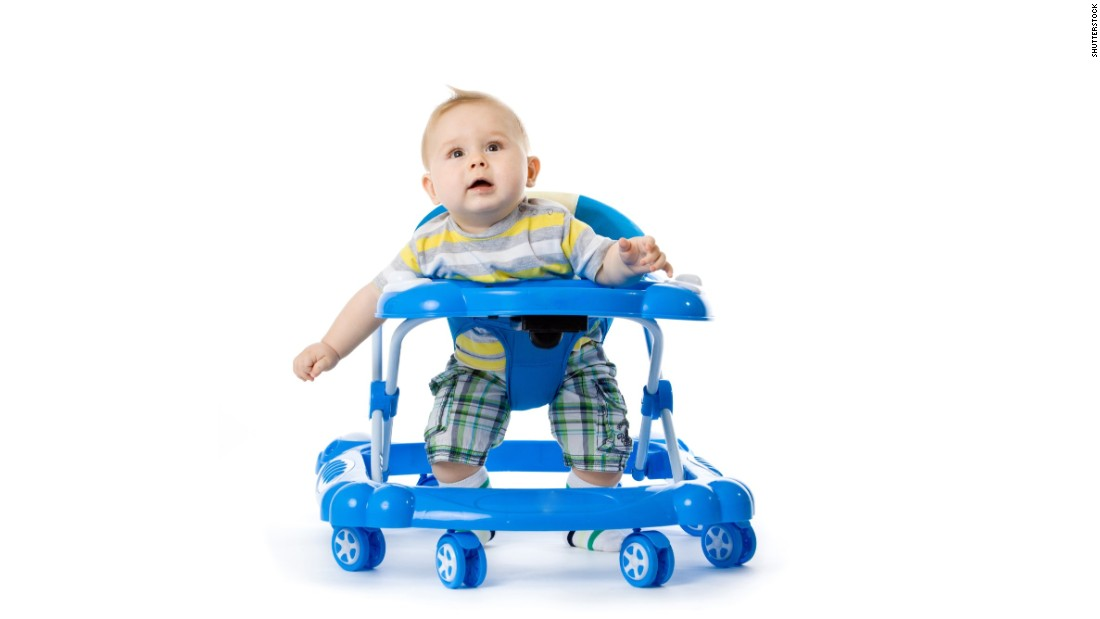 "The American Academy of Pediatrics has <a href=""https://www.healthychildren.org/English/safety-prevention/at-home/Pages/Baby-Walkers-A-Dangerous-Choice.aspx"" target=""_blank"">called for a ban on the manufacture and sale of baby walkers</a> with wheels because children can roll down stairs and become injured. They can also roll into pools or other water and get closer to items that will burn or poison them."