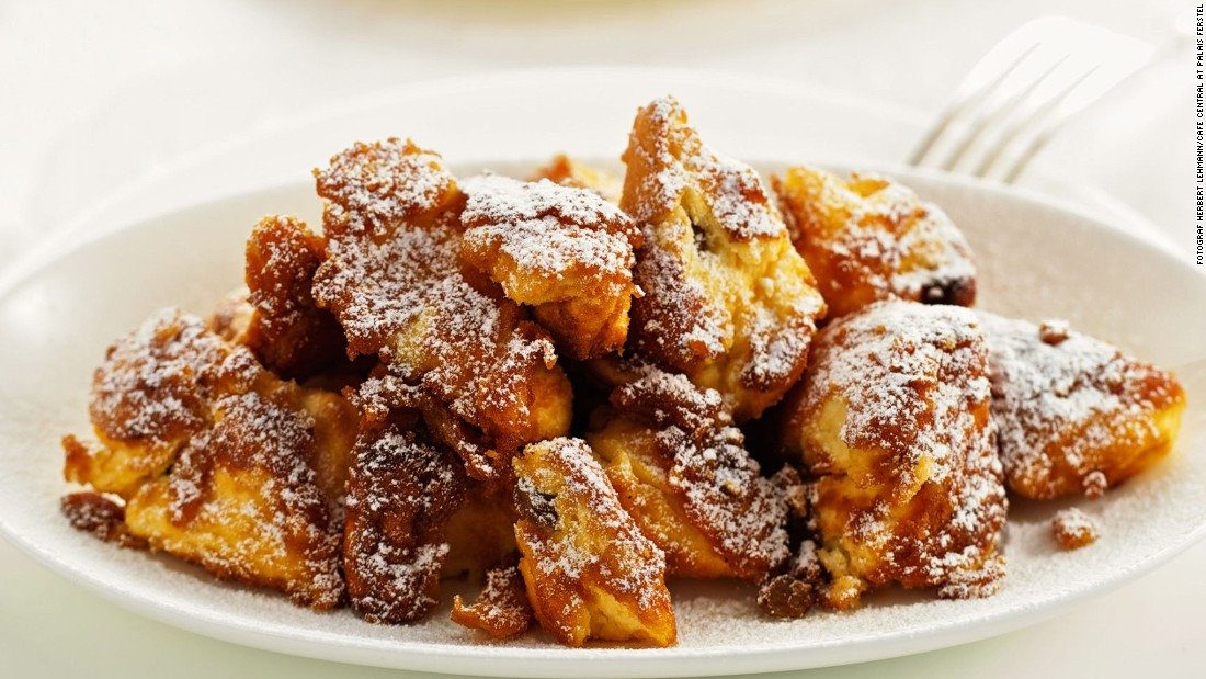 Kaiserschmarrn is a specialty dish that can sometimes be eaten as a main course in Austria. Fluffy pancakes are shredded into little pieces and drenched in a fruit sauce. Vienna's Cafe Central serves a supersize kaiserschmarrn.