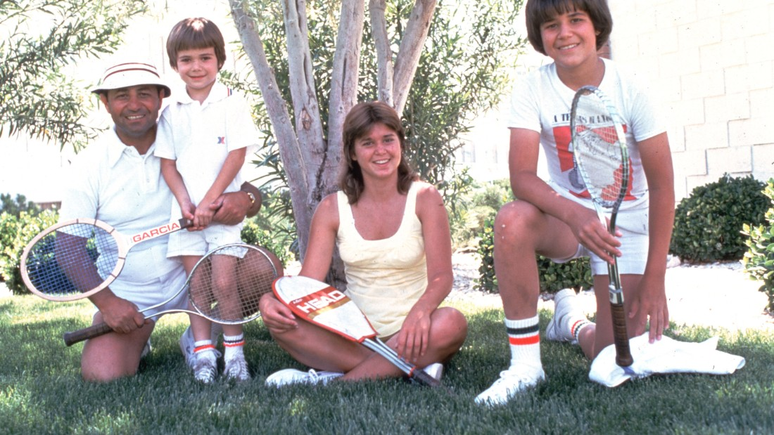 "Agassi, at the age of six, stands next to his father Emmanuel ""Mike"" Agassi and older sister Rita Agassi and older brother Phil Agassi in 1976. In his autobiography ""Open,"" Agassi talked extensively about how driven his father was in helping his son pursue a career in tennis."