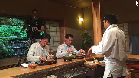 Chef Shinobu Namae of Tokyo restaurant L'effervescence expereinces traditional kaiseki at Kyoto's Miyamasou ryokan during his Culinary Journeys shoot with CNN.