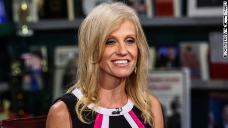 "Kellyanne Conway, president and chief executive officer of Polling Co. Inc./Woman Trend, smiles during an interview on ""With All Due Respect"" in New York, U.S., on Tuesday, July 5, 2016. Asked how Trump reassures conservatives about his positions on issues such as abortion without losing ground with voters in the center, Republican pollster Conway, one of Trump's new senior strategists, said he would work to shift the spotlight to Clinton. Photographer: Chris Goodney/Bloomberg via Getty Images"
