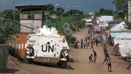 A UN armored personnel vehicle in Juba. Around 12,000 peacekeepers are stationed in South Sudan.