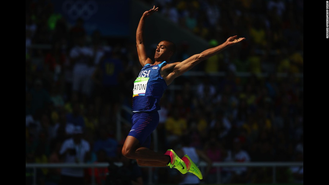 U.S. athlete Ashton Eaton takes part in the long jump portion of the decathlon. Eaton won the decathlon at the London Games in 2012.