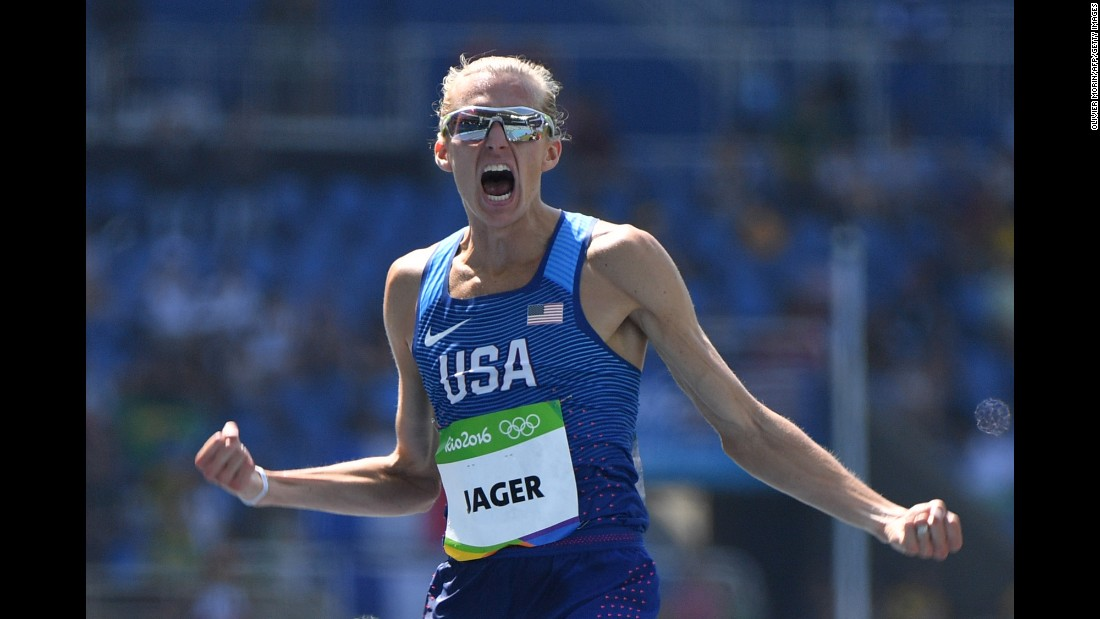 American Evan Jager celebrates after winning silver in the 3,000-meter steeplechase.