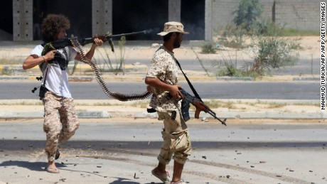 Government of National Accord forces advance into an ISIS-held district of Sirte on August 14.