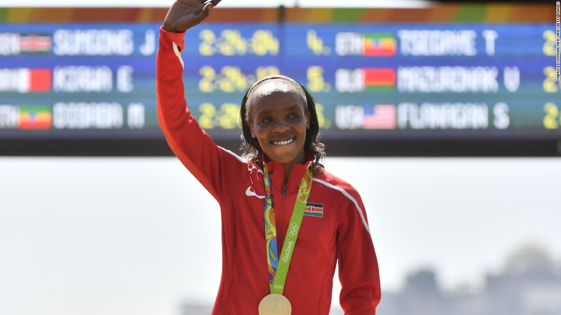 Kenya's Jemima Jelagat Sumgong winning gold for the marathon in Rio. <br /><br />Kenya has an illustrious tradition for runners. Over the 2008 and 2012 Olympics, only the US and Russia claimed more athletics medals. The country is now seeking to cash in on this rich heritage.