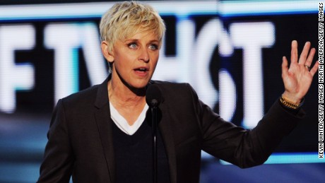 "LOS ANGELES, CA - JANUARY 11:  TV personality Ellen DeGeneres, winner Favorite Daytime TV Host for ""The Ellen DeGeneres Show,"" speaks onstage at the 2012 People's Choice Awards at Nokia Theatre L.A. Live on January 11, 2012 in Los Angeles, California.  (Photo by Kevin Winter/Getty Images)"