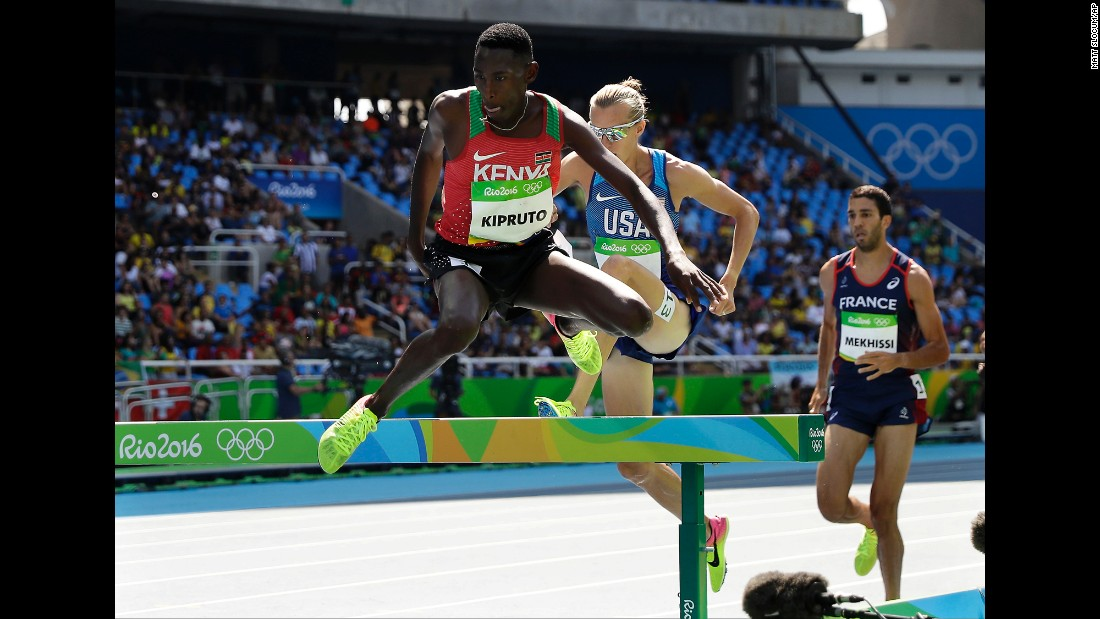 Kenya's Conseslus Kipruto won the 3,000-meter steeplechase. Kenyan men have won every Olympic steeplechase since 1984.