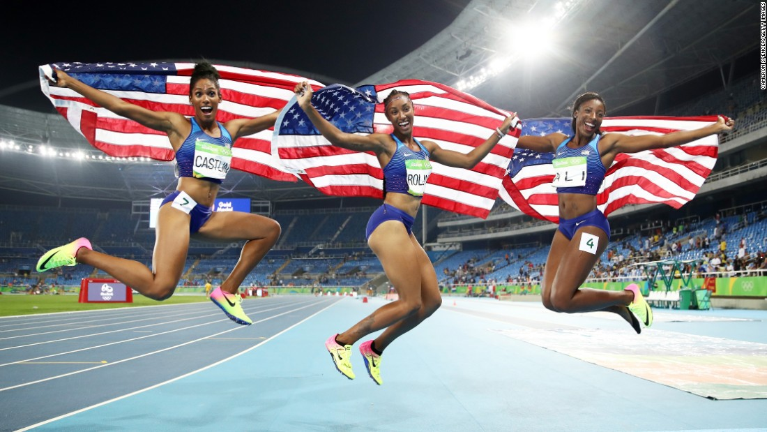 Americans swept the final of the 100-meter hurdles. From left are bronze medalist Kristi Castlin, gold medalist Brianna Rollins and silver medalist Nia Ali.