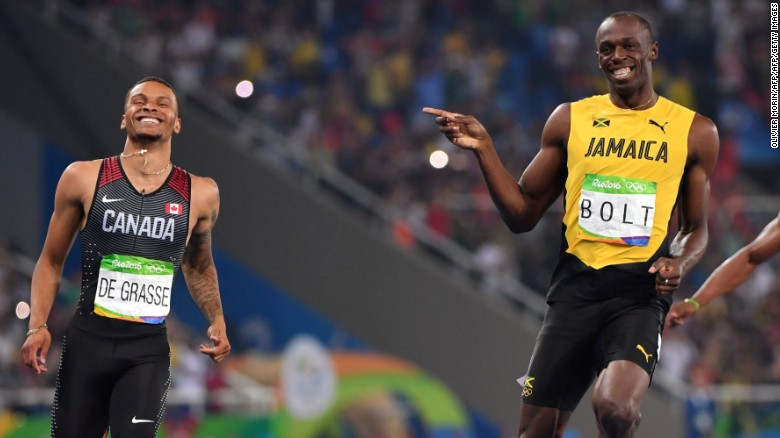 Usain Bolt cracks joke crossing finish line