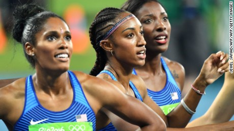 The US trio took the medals in a thrilling 100-meter hurdles race.