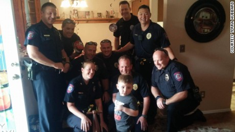 Officers from the Yukon police department showed up to help celebrate Brayden's birthday.
