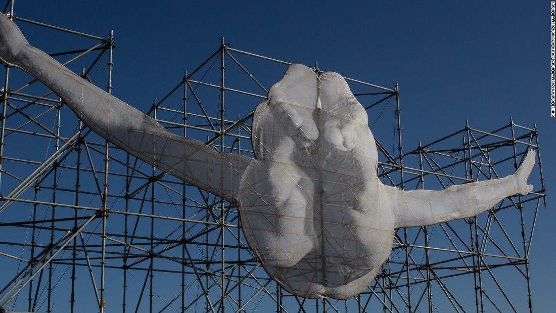 One installation depicts an Olympic diver.