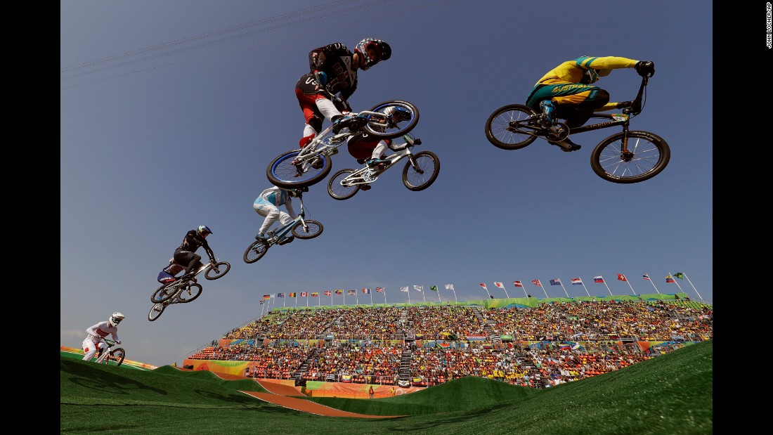 BMX riders take flight during the quarterfinals.
