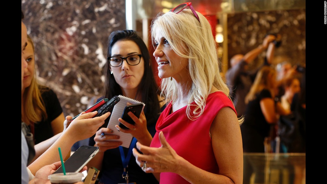 "Kellyanne Conway, <a href=""http://www.cnn.com/2016/08/17/politics/trump-campaign-overhaul/index.html"" target=""_blank"">the new campaign manager</a> for presidential candidate Donald Trump, speaks to reporters in New York on Wednesday, August 17. Conway had been a senior adviser and pollster to the Republican's campaign. Steve Bannon, the executive chairman of Breitbart News, was named as the campaign's chief executive."
