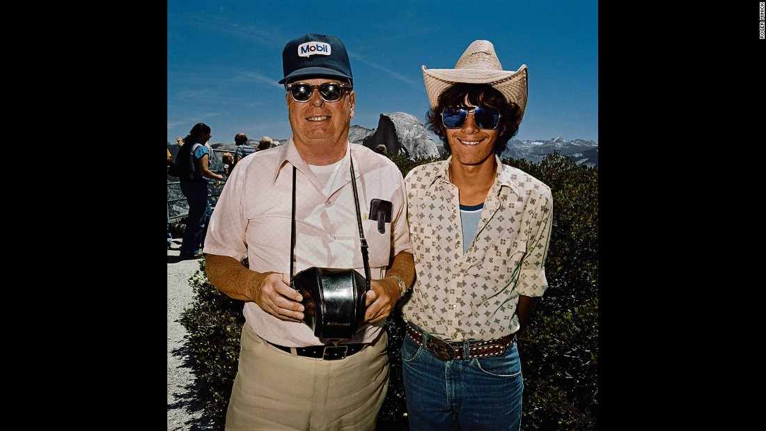 "<em>Father & Son at Glacier Point, Yosemite National Park, California, 1981. </em>Many of Minick's subjects wore clothes that made it easy to ""jump out of the car and take in the view and get back in the car and move on,"" he said."