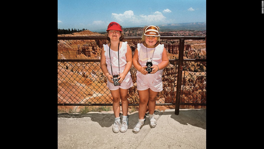 "<em>Girls in Matching Pink Dresses at Sunset Point, Bryce Canyon National Park, 1980. </em>Minick looked for an ""elusive something"" that made the photos work. This one, he said, ""was just almost too easy."""