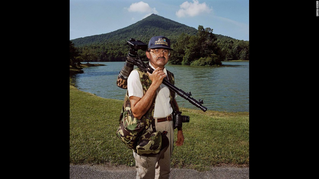 "<em>Birder at Peaks of Otter, Blue Ridge Parkway, Virginia, 1999. </em>This birder was ""so earnest and ready to go and it was early in the morning and he just couldn't wait,"" Minick said."