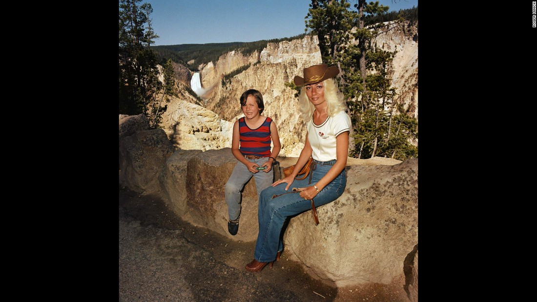 <em>Mother & Son at Lower Falls Overlook, Yellowstone National Park, 1980. </em>Minick used a hand-held camera for the project to allow for more spontaneity.