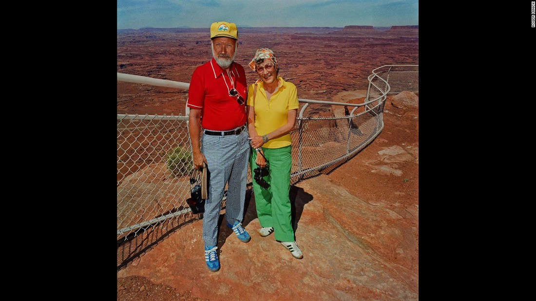 "<em>Couple at Canyonlands National Park, Utah, 1980. </em>The series ""addressed what people wore and how it juxtaposed with the background and the landscape,"" Minick said."