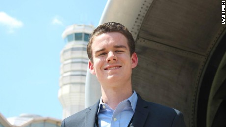 Ryan Ewing, 17, organized an aviation event Friday stretching from London to Los Angeles.