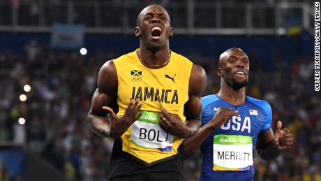 Jamaica's Usain Bolt celebrates after crossing the finish line to win the men's 200m final on August 18.