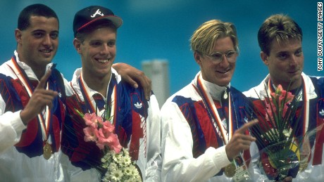 Sept. 1988: The US men's freestyle relay team, with Dalbey, second from right, celebrates winning the gold in Seoul.