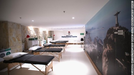 RIO DE JANEIRO, BRAZIL - AUGUST 02:  General view of the Great Britain physio treatment room at the Olympic Village  ahead of the Rio  2016 Olympic Games on August 2, 2016 in Rio de Janeiro, Brazil.  (Photo by Alexander Hassenstein/Getty Images)