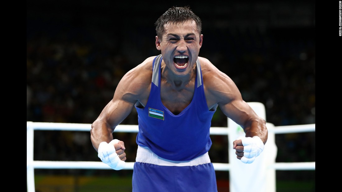 Fazliddin Gaibnazarov, a boxer from Uzbekistan, reacts after he defeated Russia's Vitaly Dunaytsev in the light-welterweight semifinal.