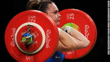 RIO DE JANEIRO, BRAZIL - AUGUST 12:  Maria Fernanda Valdes Paris of Chile in action during the Weightlifting - Women's 75kg Group B on Day 7 of the Rio 2016 Olympic Games at Riocentro - Pavilion 2 on August 12, 2016 in Rio de Janeiro, Brazil.  (Photo by Mike Ehrmann/Getty Images)
