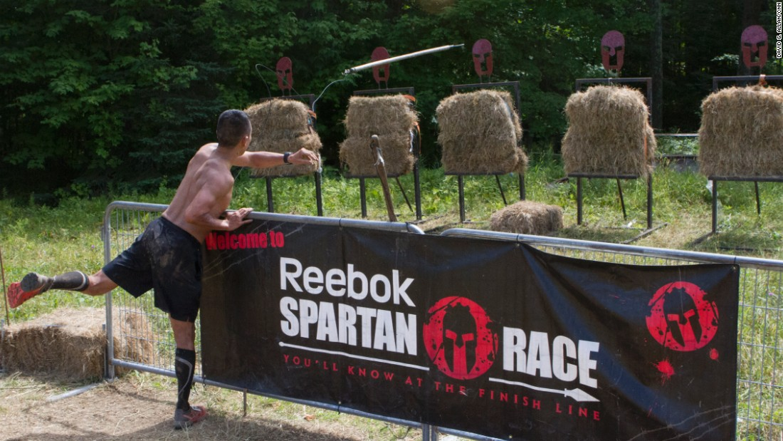 Failure to complete any obstacle results in 30 burpees, strictly enforced by volunteers staffing each obstacle. The spear throw has such a high rate of failure (you get only one shot) that it's basically a burpee station.