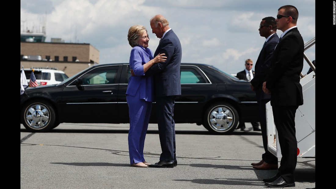 "Democratic presidential nominee Hillary Clinton greets Vice President Joe Biden on an airport tarmac in Avoca, Pennsylvania, on Monday, August 15. <a href=""http://www.cnn.com/videos/us/2016/08/17/joe-biden-endless-hug-moos-pkg-erin.cnn"" target=""_blank"">Watch CNN's Jeanne Moos on the ""endless embrace""</a>"