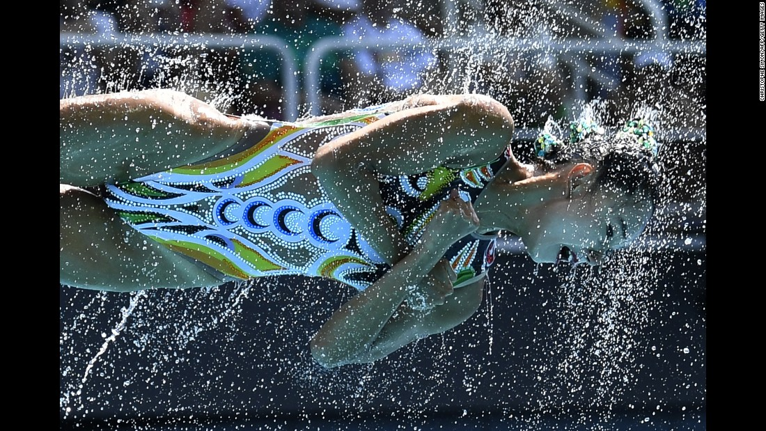 A synchronized swimmer from China performs during the team's free routine.