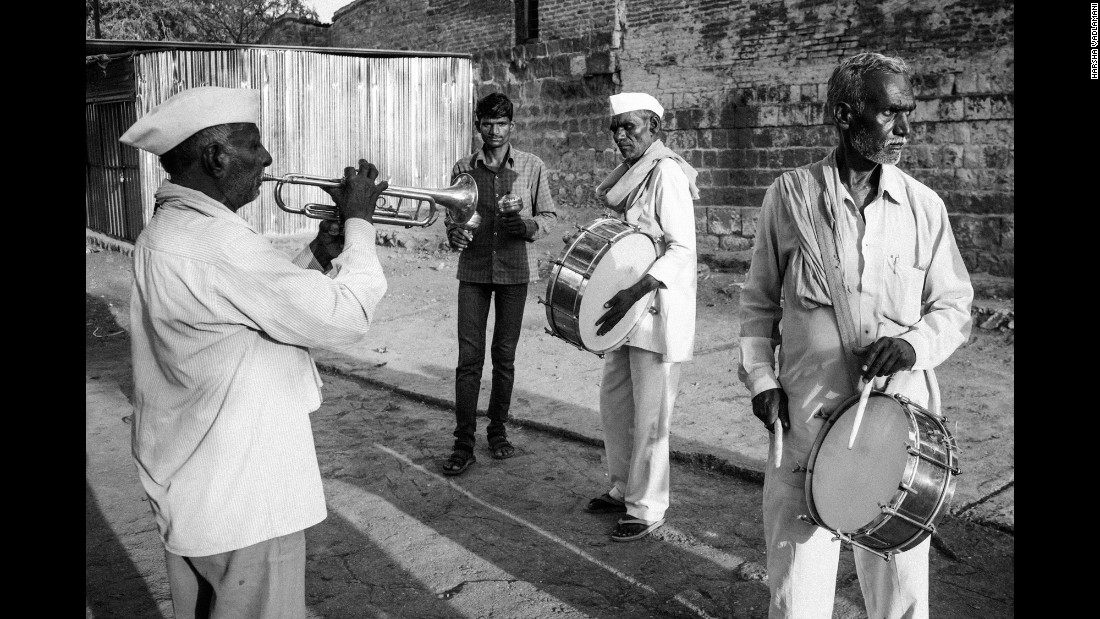 "A four-member band plays at a wedding in Manjrath, India. ""If not for the drought, the wedding would have been a much (more) lavish affair,"" said a relative attending the wedding."
