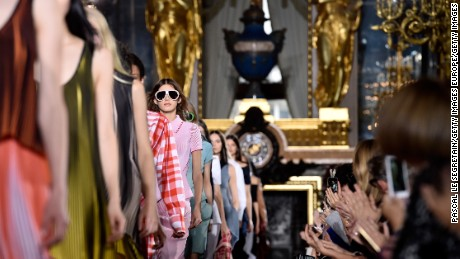 PARIS, FRANCE - OCTOBER 05:  Models walk the runway during the Stella McCartney show as part of the Paris Fashion Week Womenswear Spring/Summer 2016 on October 5, 2015 in Paris, France.  (Photo by Pascal Le Segretain/Getty Images)