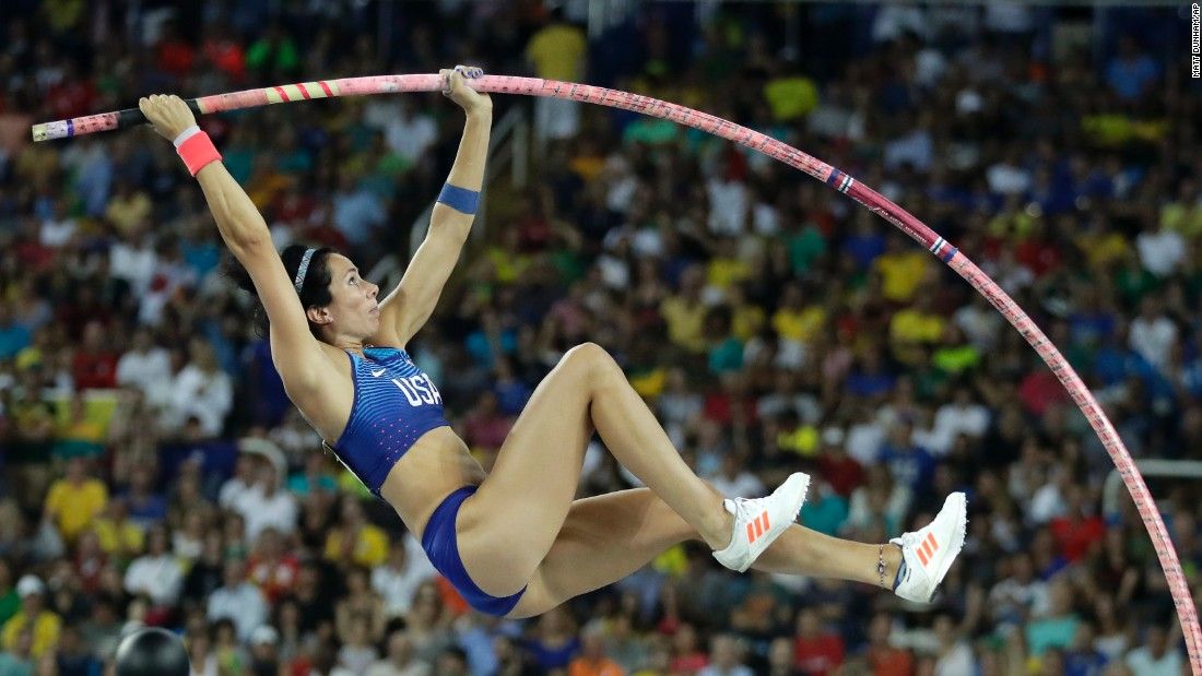 U.S. pole vaulter Jenn Suhr competes in the final.