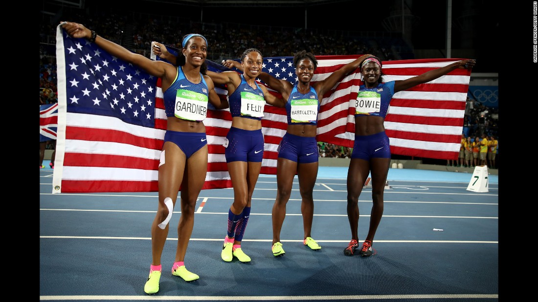 The United States won gold in the women's 4x100. The winning team was comprised of English Gardner, Allyson Felix, Tianna Bartoletta and Tori Bowie.