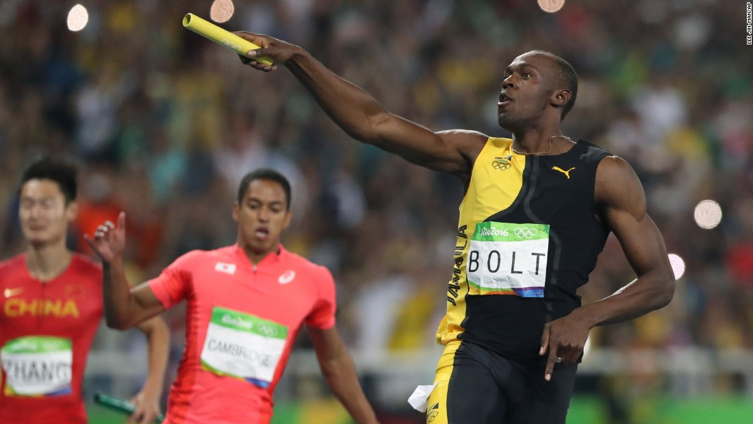 "Jamaica's Usain Bolt celebrates winning gold in the 4x100 relay on Friday, August 19. The victory caps off <a href=""http://edition.cnn.com/2016/08/19/sport/usain-bolt-jamaica-mens-4x100m-relay-olympics-rio/index.html"" target=""_blank"">an unprecedented ""triple-triple"":</a> three straight Olympic golds in the 100 meters, the 200 meters and the 4x100."