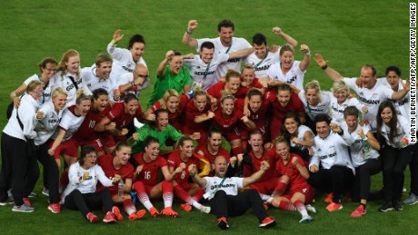 Germany's women's team celebrates its first Olympic soccer gold.