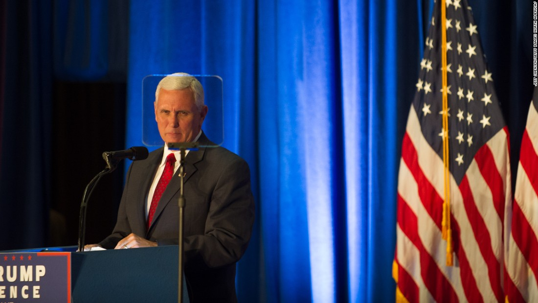 Pence introduces his running mate, Trump, at a campaign event at Youngstown State University on August 15, 2016, in Youngstown, Ohio.