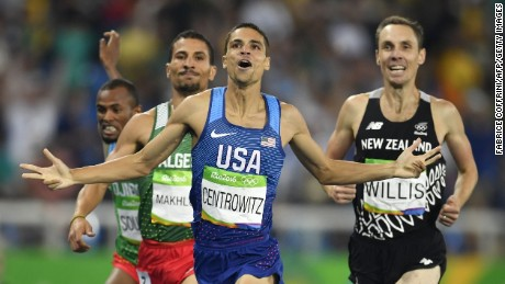 Matt Centrowitz (C) won the Olympic 1,500m title from Taoufik Makhloufi (left) and Nick Willis.