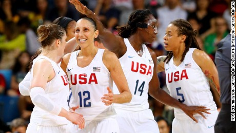 Team USA players celebrate a play during the Women's gold medal match between the United States and Spain in Rio.