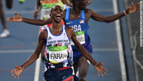 Mo Farah celebrates after crossing the finish line to win the men's 5000m final at Rio 2016.